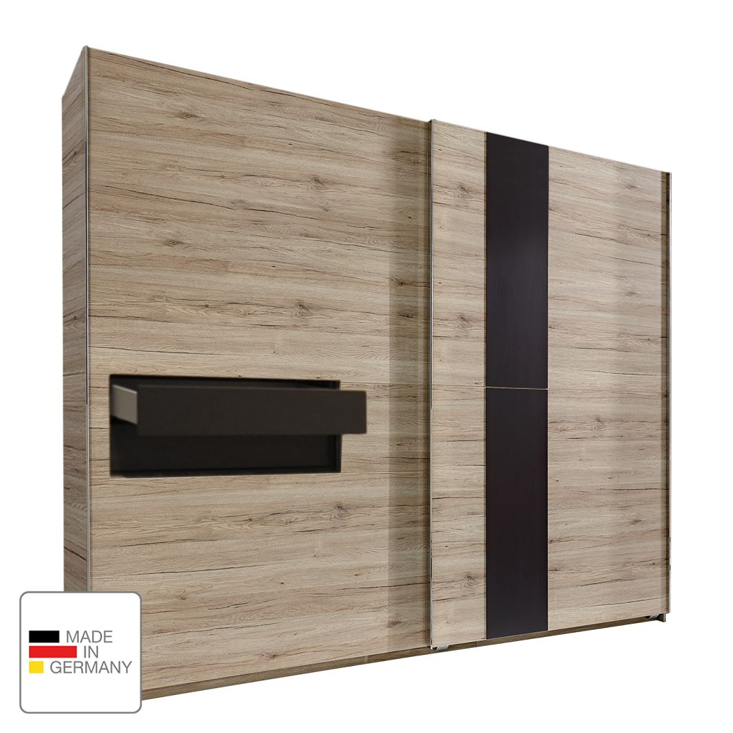 Armoire à portes coulissantes Diva - Imitation chêne de San Remo - 300 cm (2 portes) - 2 tiroirs - S