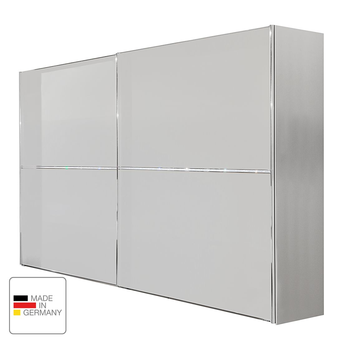 Armoire à portes coulissantes Dubai I - Blanc alpin - 200 cm (2 portes) - Sans cadre passepartout, W