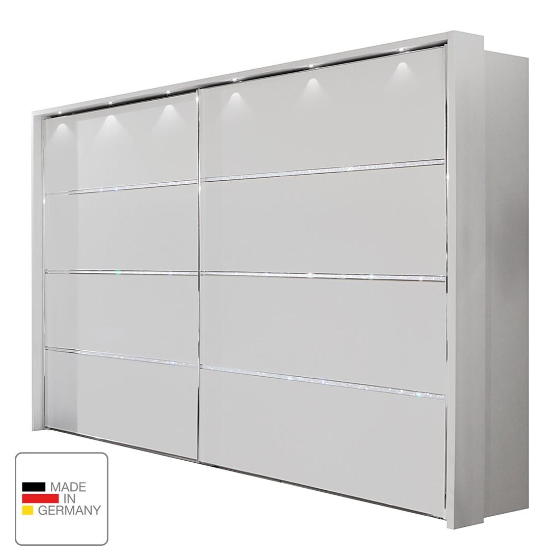 EEK A+, Armoire à portes coulissantes Dubai II - Blanc alpin - 200 cm (2 portes) - Avec cadre passep
