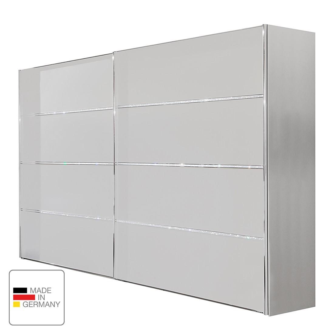 Armoire à portes coulissantes Dubai II - Blanc alpin - 200 cm (2 portes) - Sans cadre passepartout,