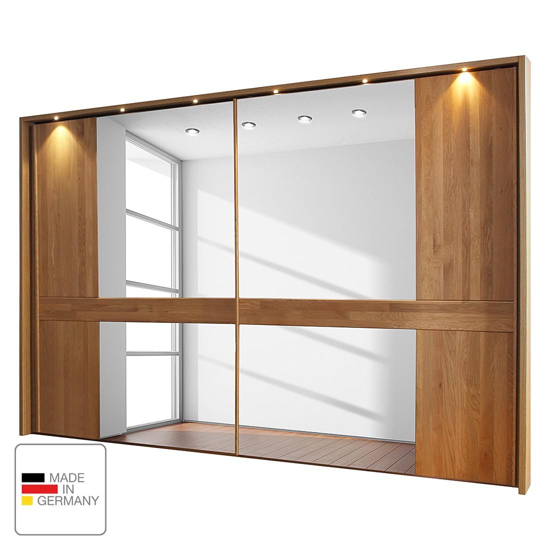 EEK A+, Armoire à portes coulissantes Faro - Chêne partiellement massif verni - 250 cm (2 portes) -
