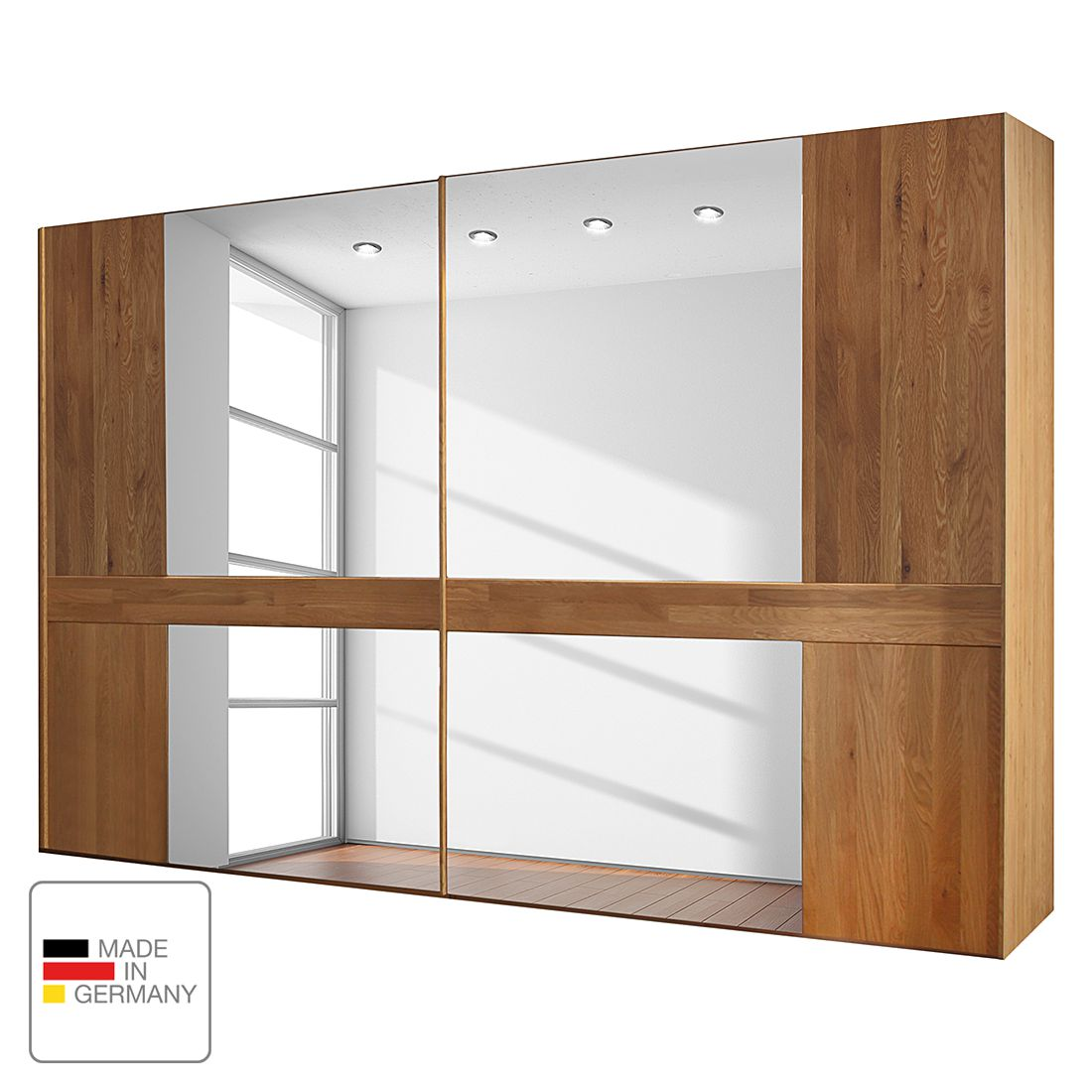 Schuifdeurkast Faro - gelakt massief eikenhout - 250cm (2-deurs) - Zonder Passe-partout lijst, Wiemann