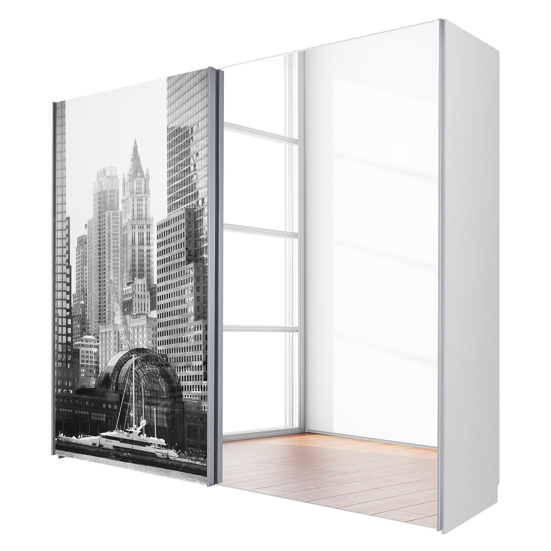Armoire àÂ portes coulissantes Kalkhorst - Blanc - 202 cm (2 portes) - Verre poli, Bellinzona