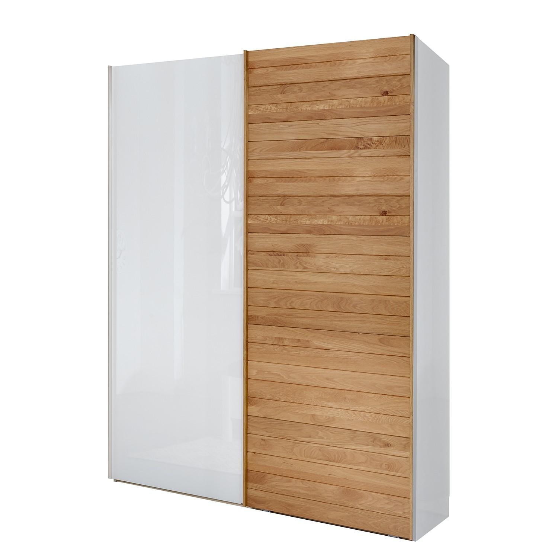 Armoire à portes pivotantes Kentucky - Blanc alpin / Chêne massif - 200 cm (2 portes) - 216 cm - San