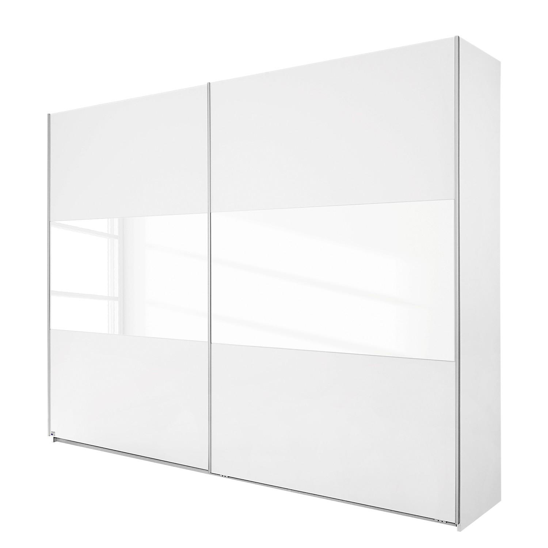 Armoire à portes coulissantes Loriga - Blanc alpin / Verre blanc - 175 cm (2 portes), Rauch Packs