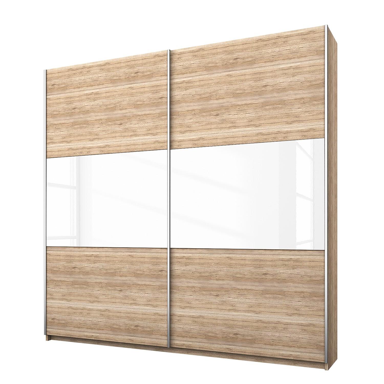 Armoire à portes coulissantes Loriga - Imitation chêne de San Remo clair / Verre blanc - 175 cm (2 p