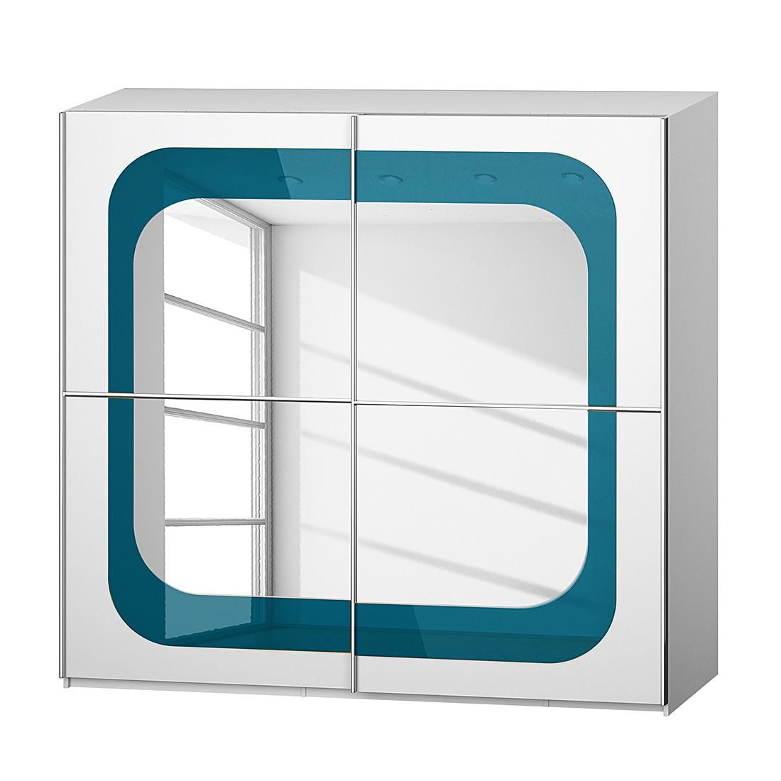 Armoire à portes coulissantes Lumos - Blanc alpin / Pétrole - 226 cm (2 portes) - 223 cm, Rauch Dial