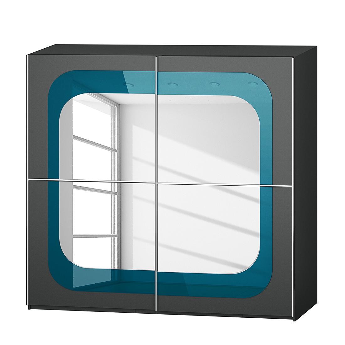 Armoire à portes coulissantes Lumos - Graphite / Pétrole - 226 cm (2 portes) - 223 cm, Rauch Dialog