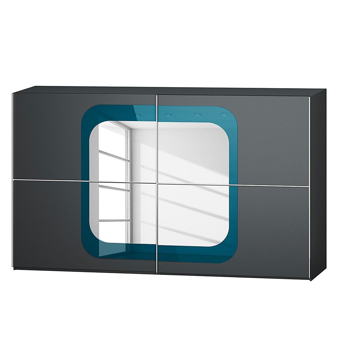 Schuifdeurkast Lumos - Grafietkleurig/petrolblauw - 359cm (2-deurs) - 236cm, Rauch Dialog