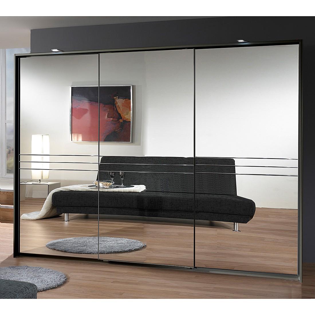 Armoire à porte coulissante Medina - Lava / Miroir - Largeur d'armoire : 300 cm - 3 portes, fresh to