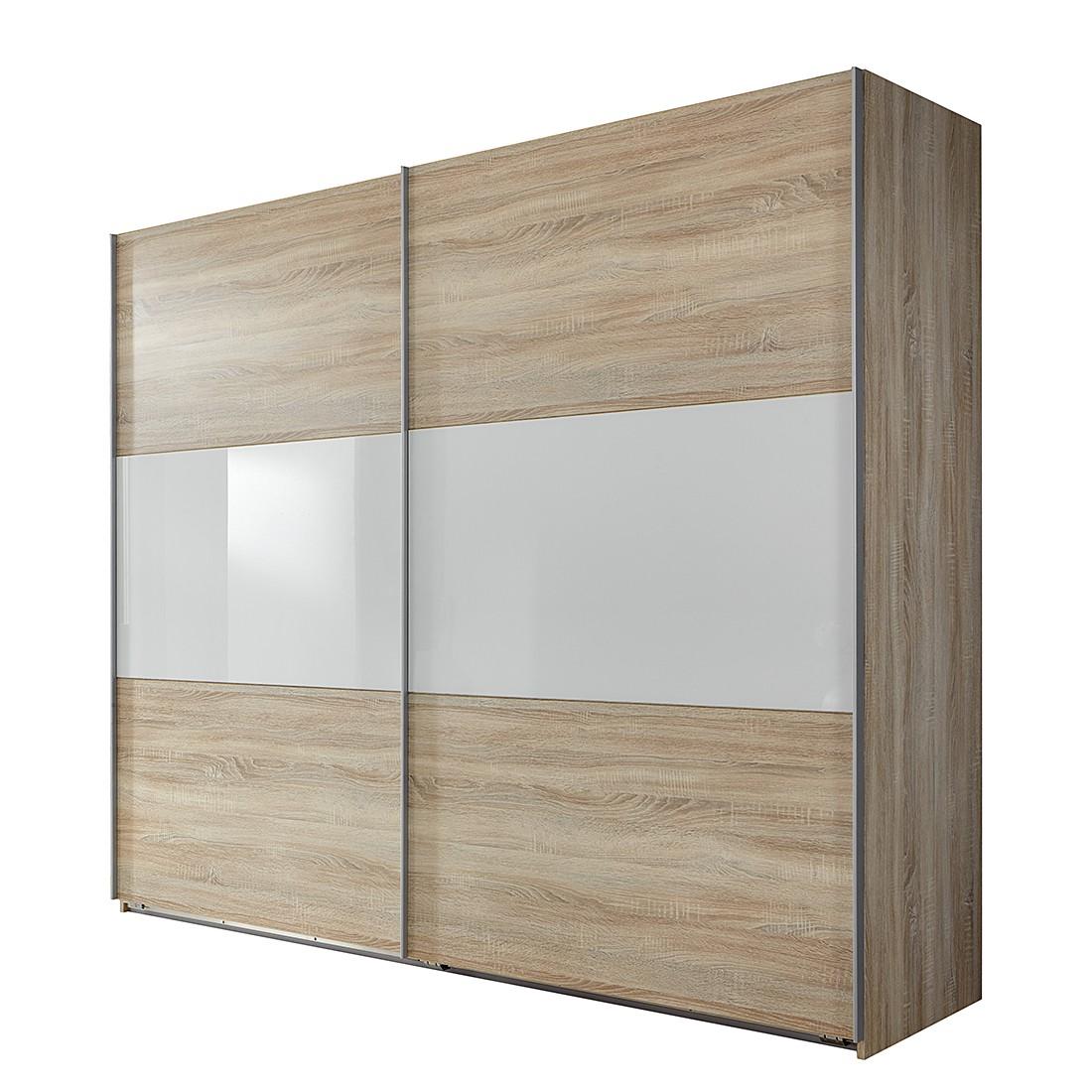 Armoire à portes coulissantes Medley II - Imitation chêne brut de sciage / Blanc - Largeur x hauteur