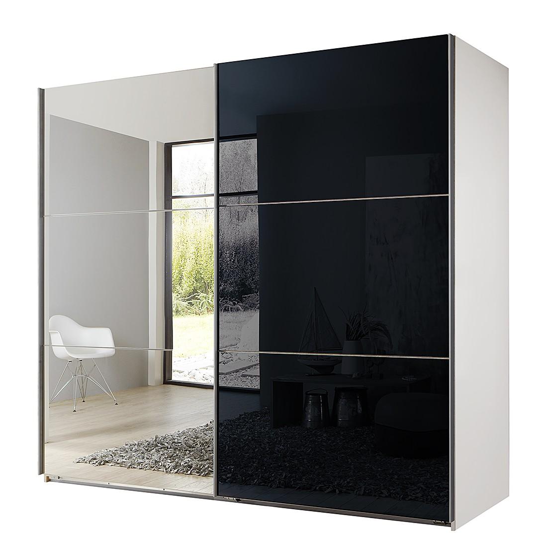 Armoire à portes coulissantes Medley (avec miroir) - Blanc alpin / Noir - Largeur x hauteur : 225 x