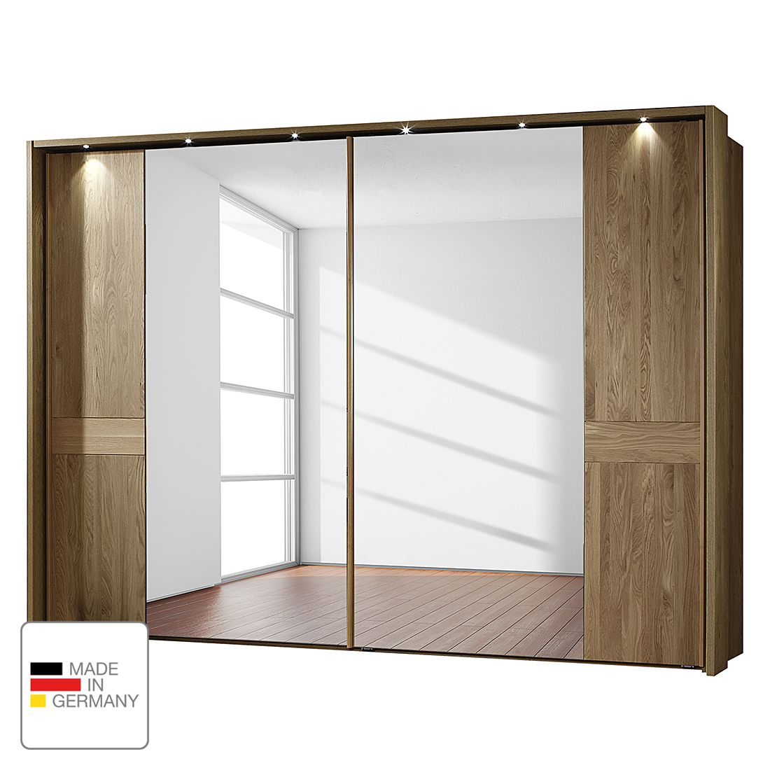 EEK A+, Armoire à portes coulissantes Münster - Chêne partiellement massif - 300 cm (2 portes) - Ave