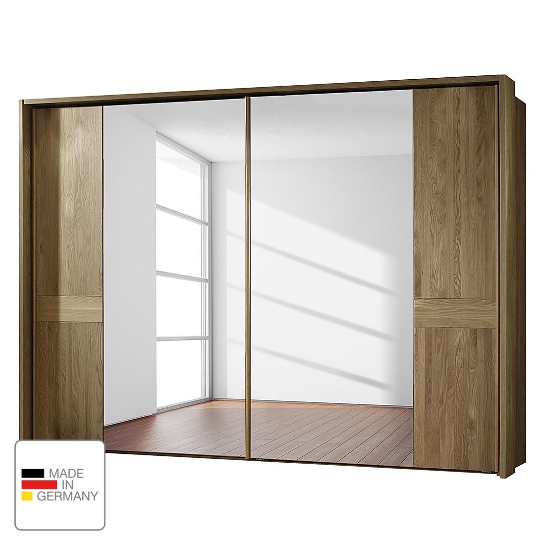 Armoire à portes coulissantes Münster - Chêne partiellement massif - 250 cm (2 portes) - Avec cadre