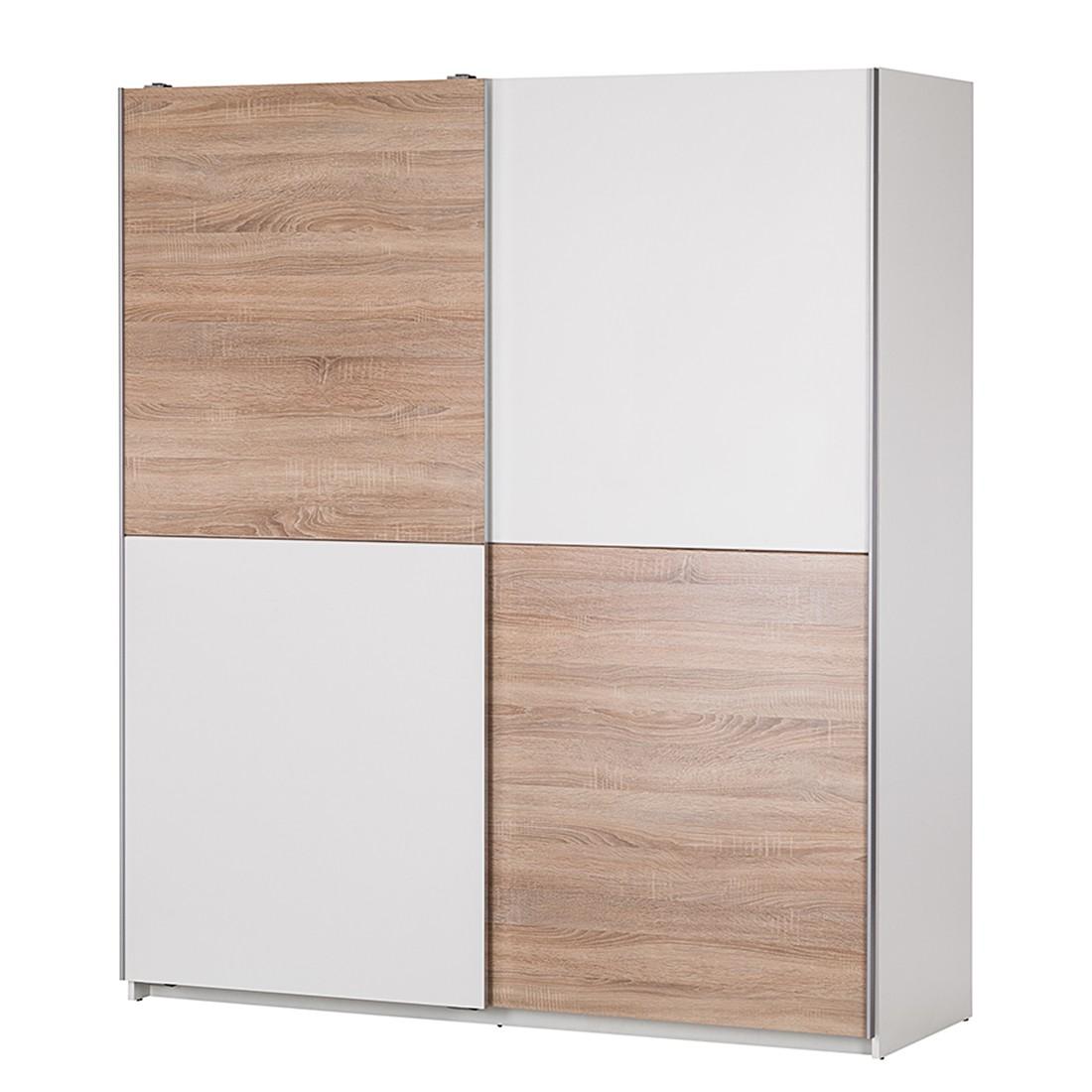 Armoire à portes coulissantes Plaza - Blanc /Imitation chêne de Sonoma, mooved