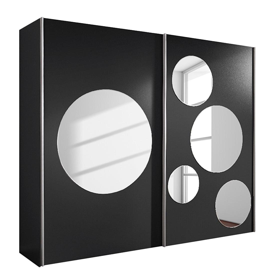 Armoire à portes coulissantes Poly - Noir avec 5 miroirs ronds - Largeur d'armoire : 236 cm, Bellinz