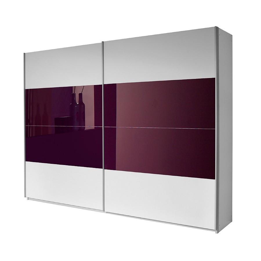 Armoire à portes coulissantes Quadra - Blanc alpin / Couleur mûre - 136 x 210 cm, Rauch Packs