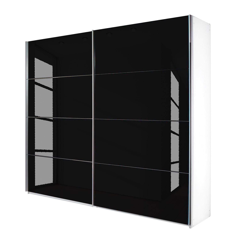 Schuifdeurkast Quadra - alpinewit/zwart glas - (BxH): 226x230cm, Rauch Packs