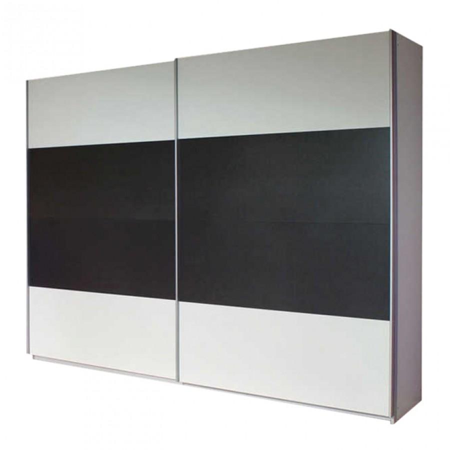 Schuifdeurkast Quadra I - Alpinewit/grijs-metallic - 136cm (2-deurs) - 210cm, Rauch