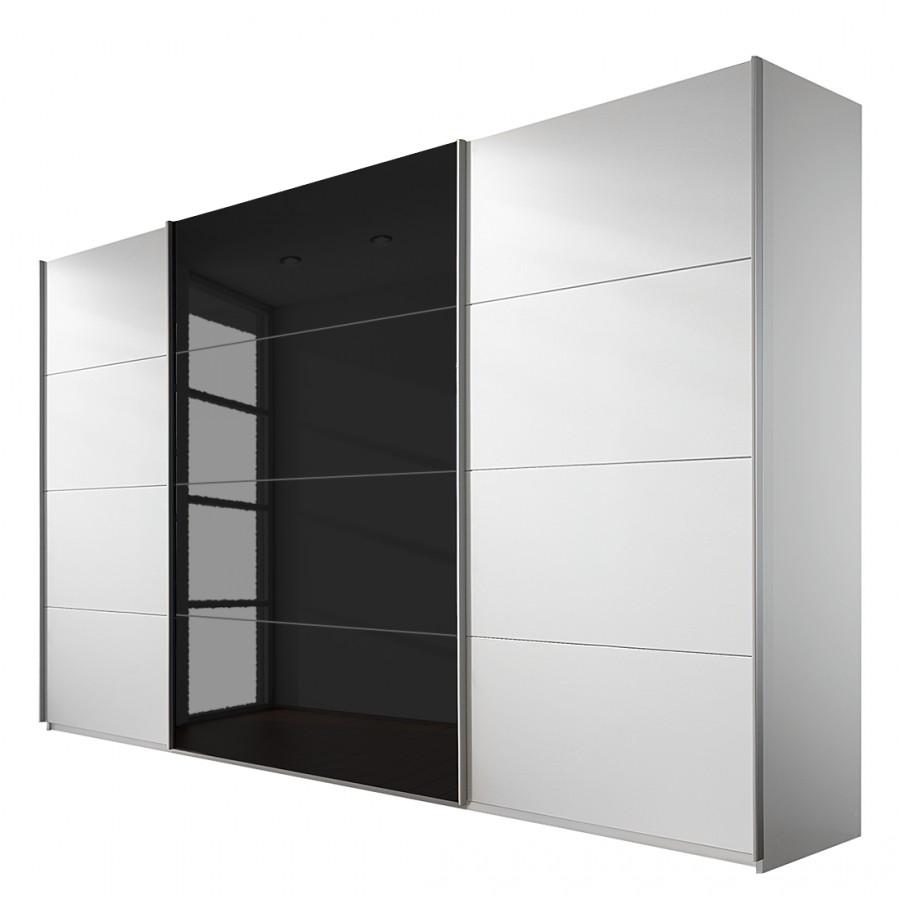 Schuifdeurkast Quadra - alpinewit/zwart - 315cm - 3-deurs, Rauch Packs