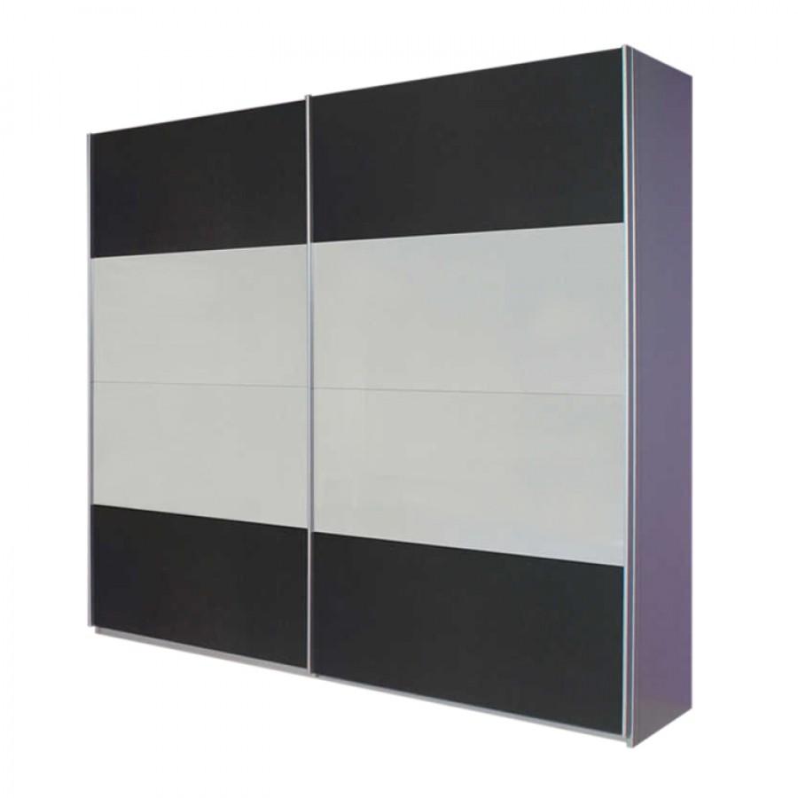 Armoire à portes coulissantes Quadra - Aluminium / Blanc alpin Gris métallisé 271 x 210 cm, Rauch Pa