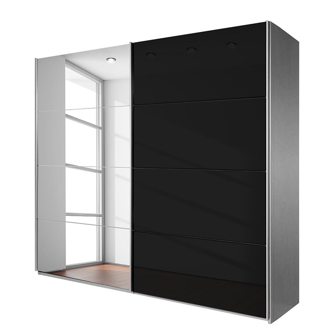 Armoire à portes coulissantes Quadra - Avec miroir Alunimium brossé / Noir Aluminium 271 x 210 cm, R