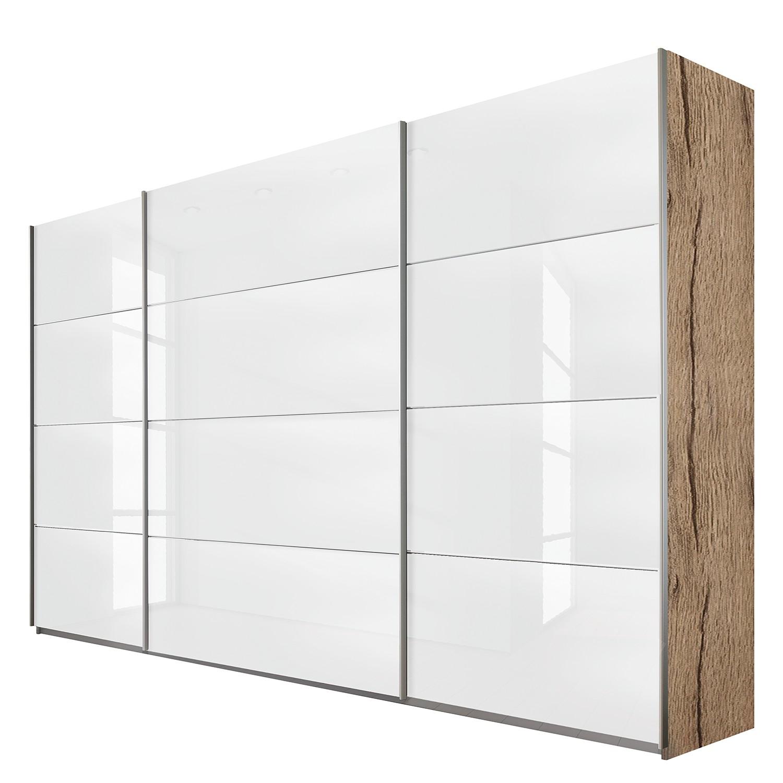 Schuifdeurkast Quadra - lichte San Remo eikenhouten look/wit glas - (BxH): 315x230cm, Rauch Packs