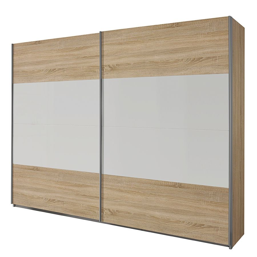 Schuifdeurkast Quadra I - Sonoma eikenhouten look/alpinewit - 181cm (2-deurs) - 210cm, Rauch