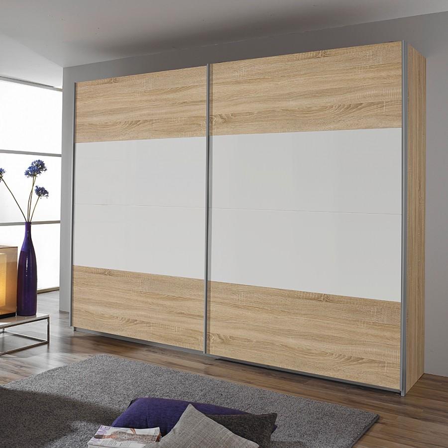 Schuifdeurkast Quadra I - Sonoma eikenhouten look/alpinewit - 226cm (2-deurs) - 230cm, Rauch