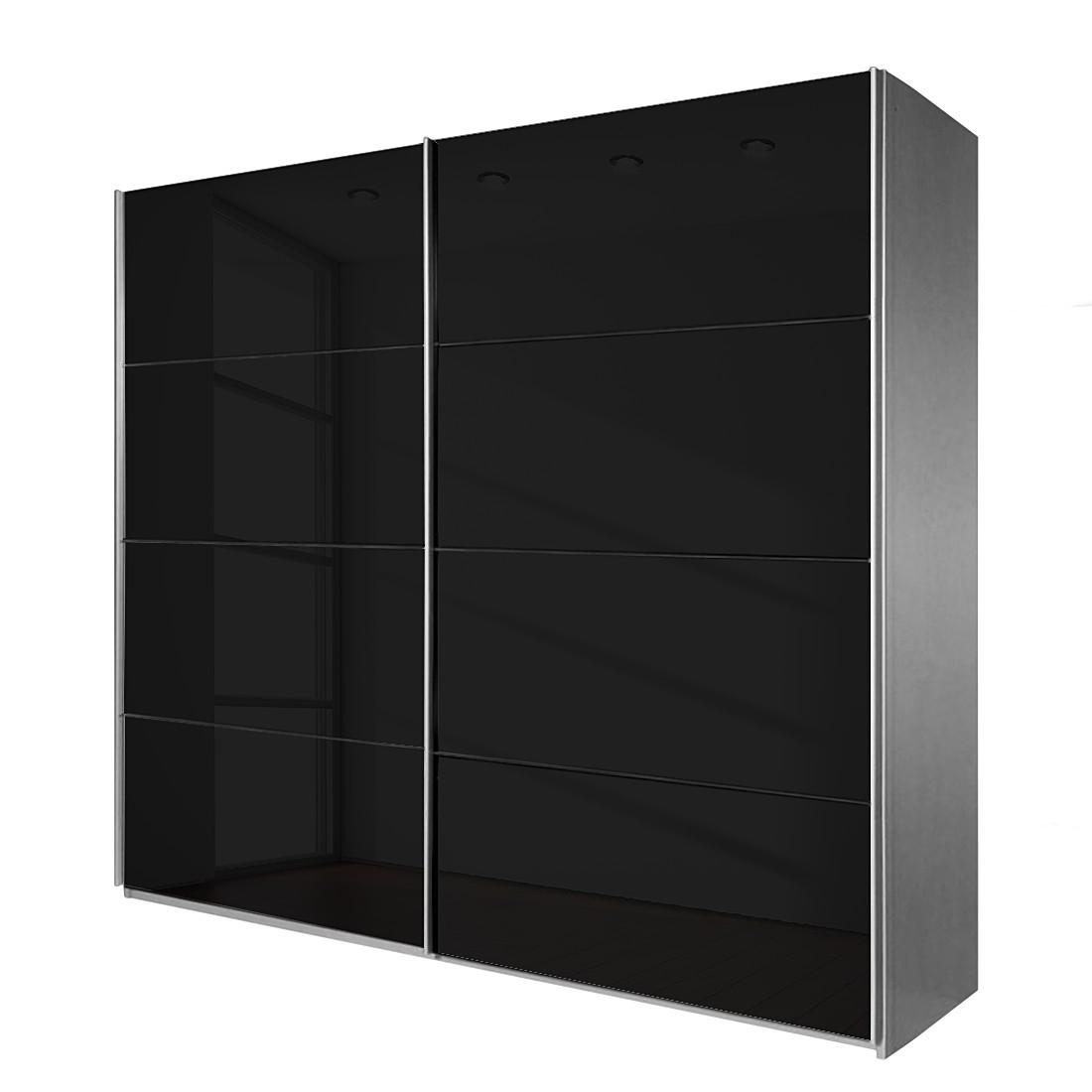 Schuifdeurkast Quadra II - Aluminiumkleurig/zwart glas - 271cm (2-deurs) - 210cm, Rauch