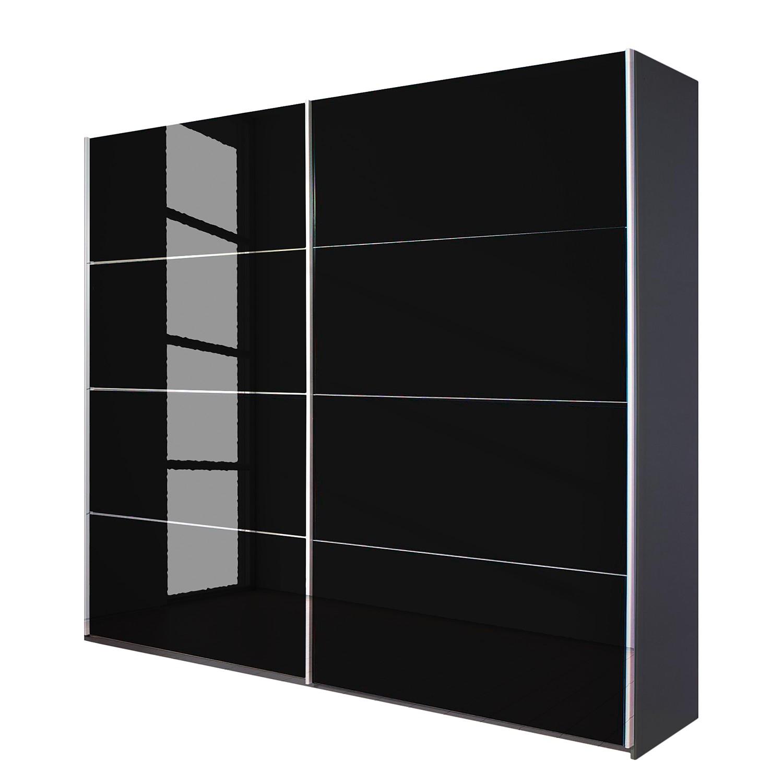 Armoire à portes coulissantes Quadra - Gris métallisé / Verre noir - 136 x 210 cm, Rauch Packs