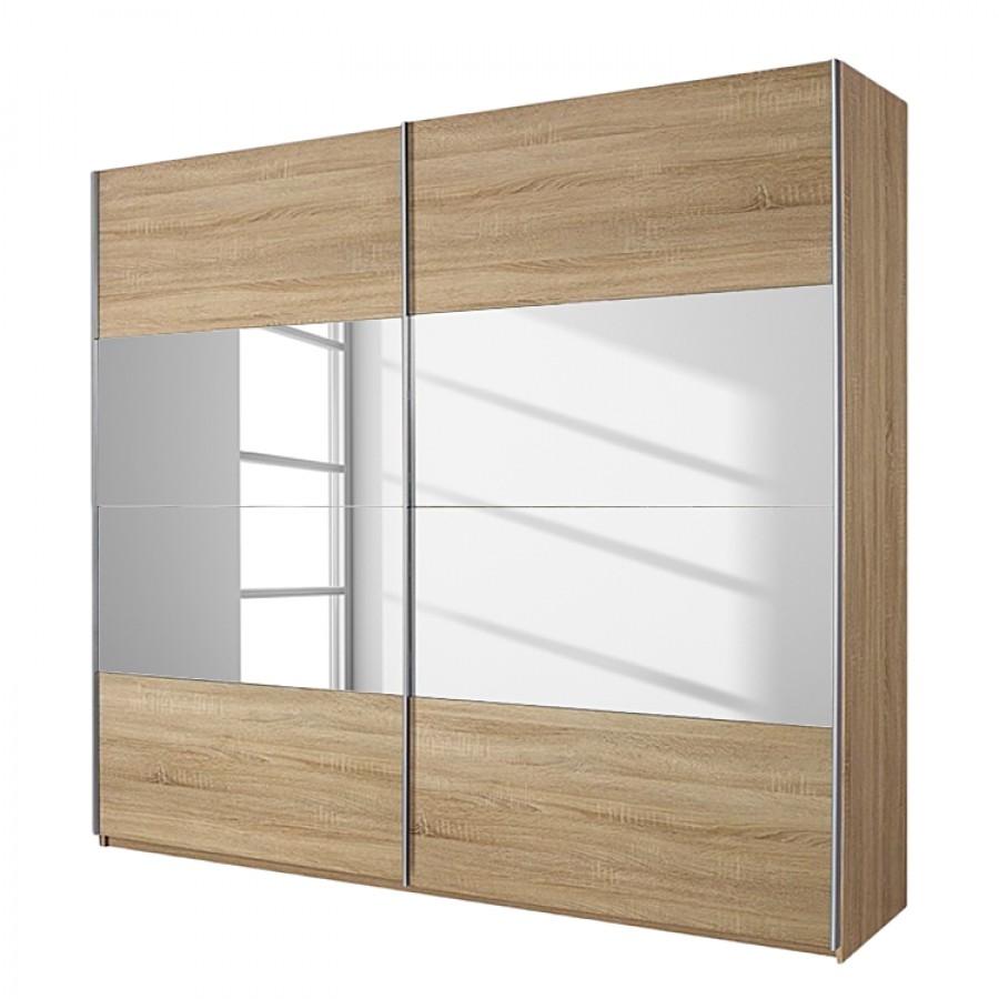 Schuifdeurkast Quadra I - Sonoma eikenhoutkleurig/spiegelglas - 181cm (2-deurs) - 210cm, Rauch