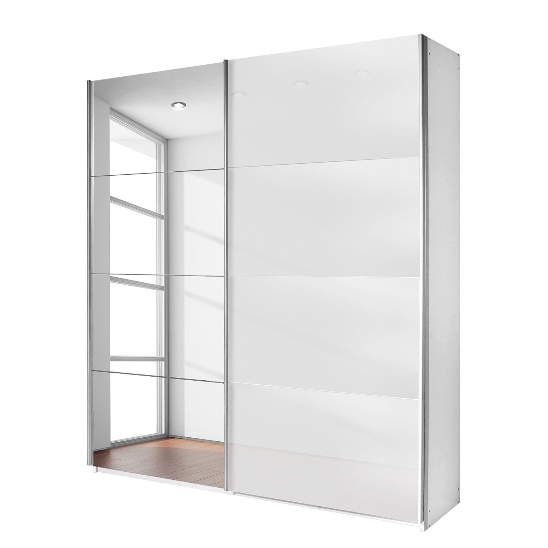Schuifdeurkast Quadra (spiegel) - alpinewit/wit glas - (BxH): 226x210cm, Rauch Packs