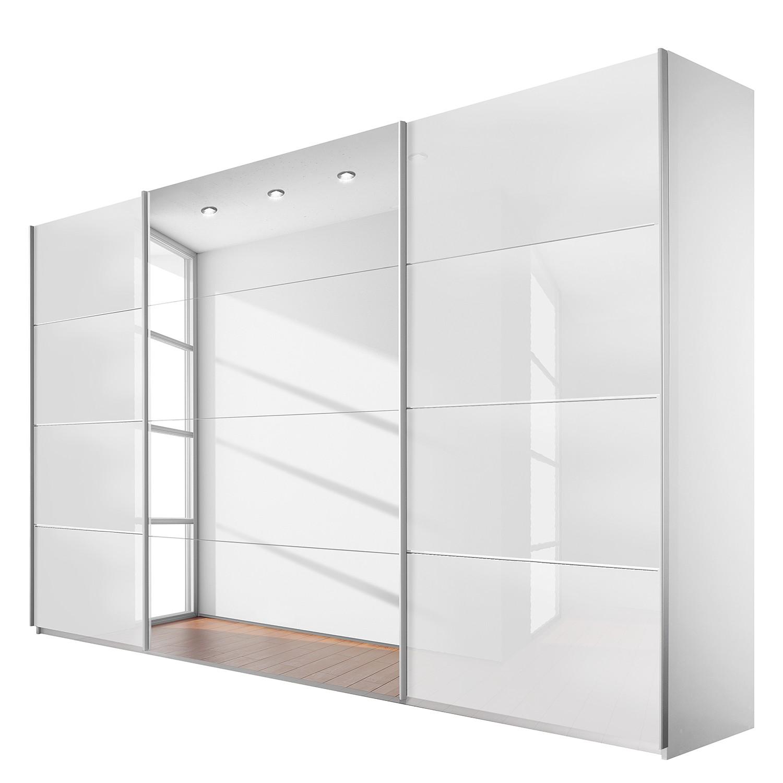 Schuifdeurkast Quadra (spiegel) - alpinewit/wit glas - (BxH): 315x210cm, Rauch Packs