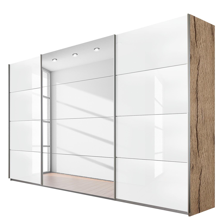 Schuifdeurkast Quadra (spiegel) - lichte San Remo eikenhouten look/hoogglans wit - (BxH): 315x230cm, Rauch Packs