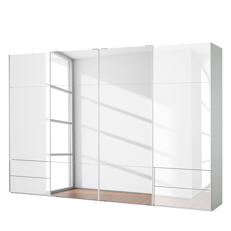 Schwebetürenschrank Samaya - Glas Weiß / Weiß - 360 cm (4-türig) - 235 cm - 2 Spiegeltüren