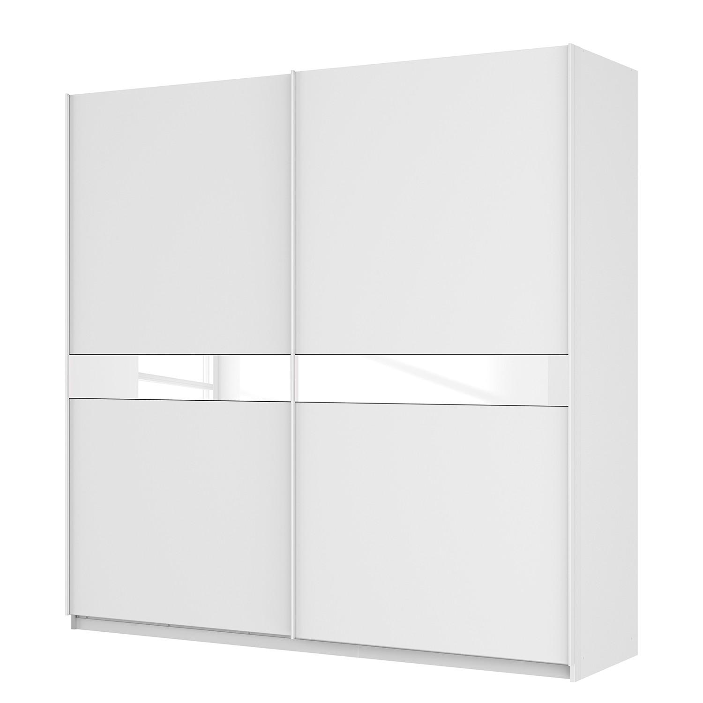 Zweefdeurkast Skøp - alpinewit/wit glas 181cm - 225cm (2-deurs) - 222cm - Comfort, SKØP
