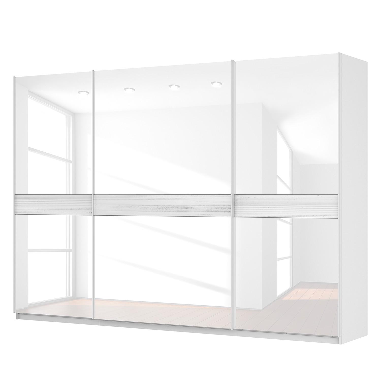 Schwebetürenschrank SKØP - Alpinweiß / Glas Weiß - 315 cm (3-türig) - 222 cm - Comfort