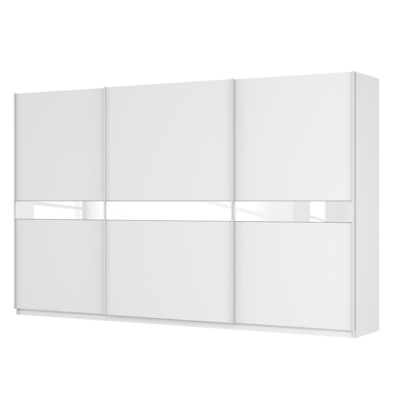 Schwebetürenschrank SKØP - Alpinweiß / Glas Weiß - 360 cm (3-türig) - 222 cm - Premium