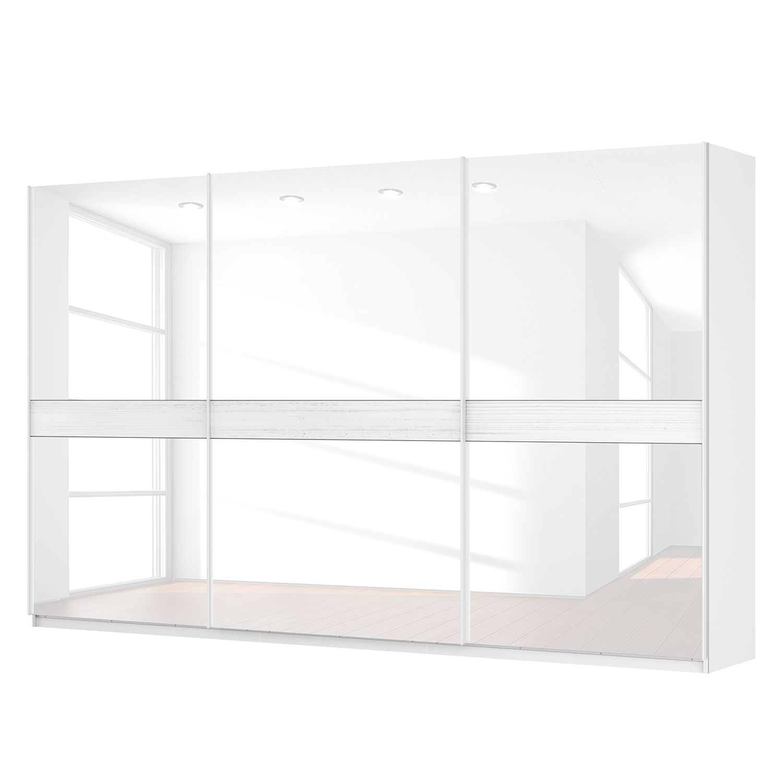 Schwebetürenschrank SKØP - Alpinweiß / Glas Weiß - 360 cm (3-türig) - 222 cm - Comfort
