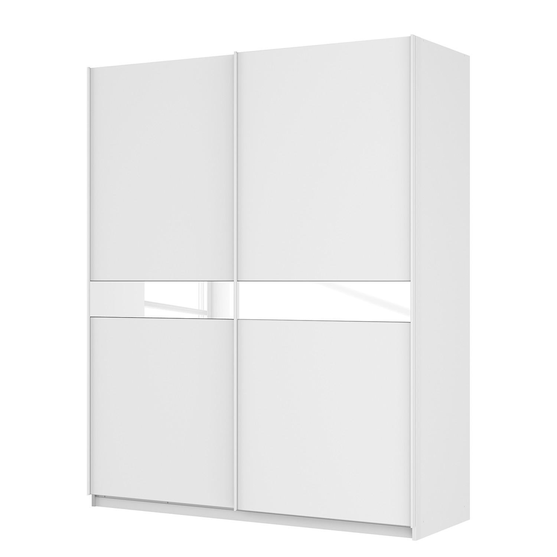 Schwebetürenschrank SKØP - Alpinweiß / Mattglas Weiß / Glas Weiß - 181 cm (2-türig) - 222 cm - Premium