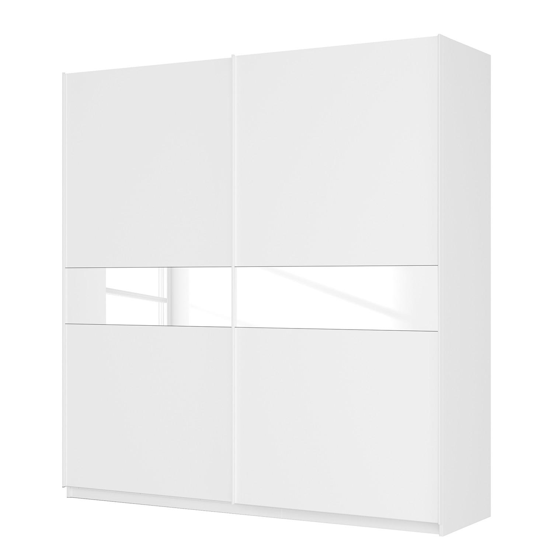 Schwebetürenschrank SKØP - Alpinweiß / Mattglas Weiß / Glas Weiß - 225 cm (2-türig) - 236 cm - Comfort
