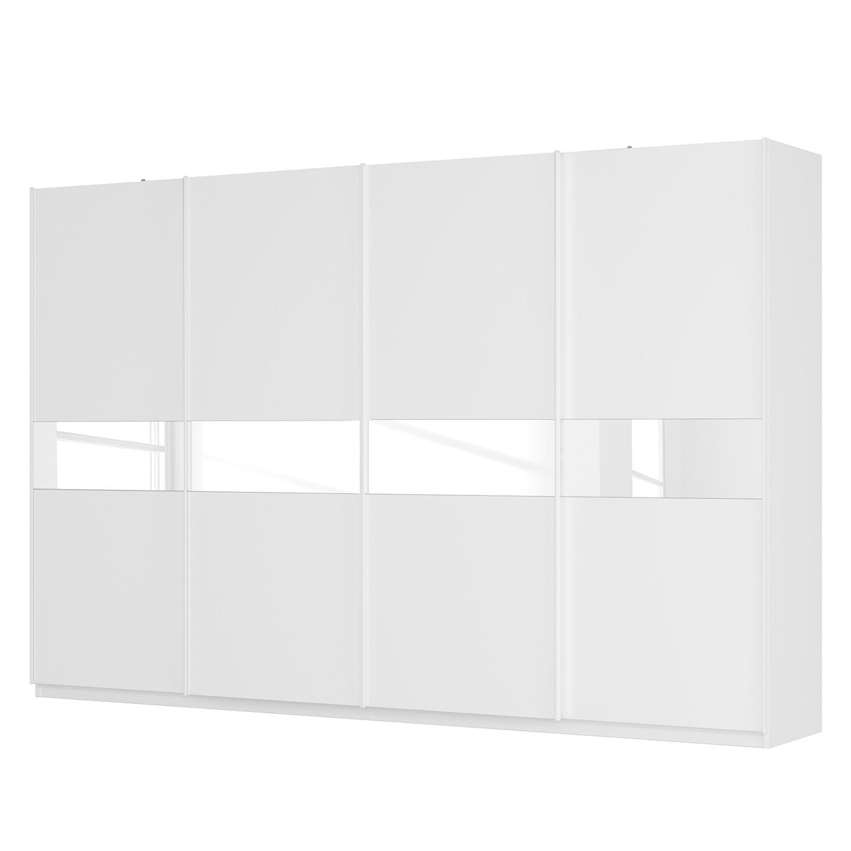 Schwebetürenschrank SKØP - Alpinweiß / Mattglas Weiß / Glas Weiß - 360 cm (4-türig) - 236 cm - Premium