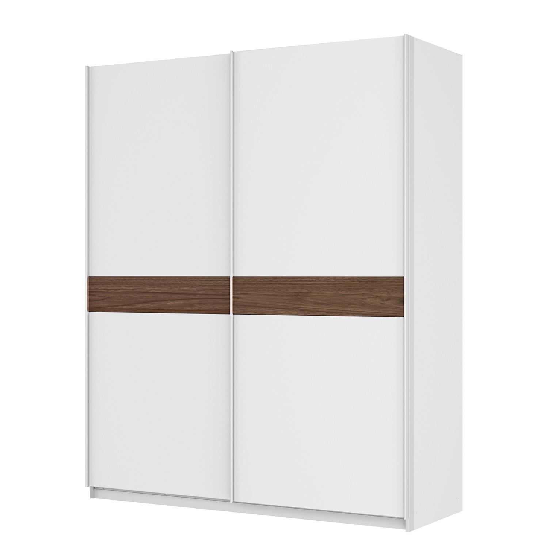 Armoire à portes coulissantes Skøp - Blanc alpin / Imitation noyer - 181 cm (2 portes) - 222 cm - Ba
