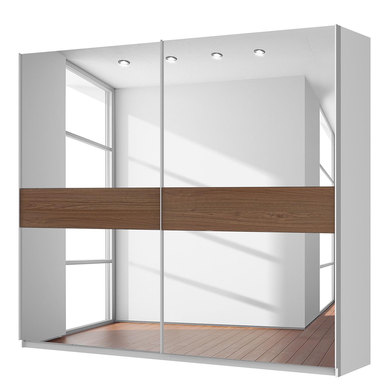 armoire portes coulissantes sk p blanc alpin imitation noyer miroir. Black Bedroom Furniture Sets. Home Design Ideas