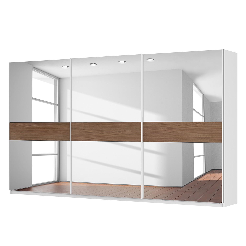Schwebetürenschrank SKØP - Alpinweiß / Spiegelglas / Nussbaum Royal Dekor - 405 cm (3-türig) - 236 cm - Premium
