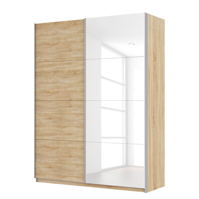 Zweefdeurkast Skøp - Sonoma eikenhouten look/hoogglans wit - 181cm (2-deurs) - 236cm - Basic, SKØP