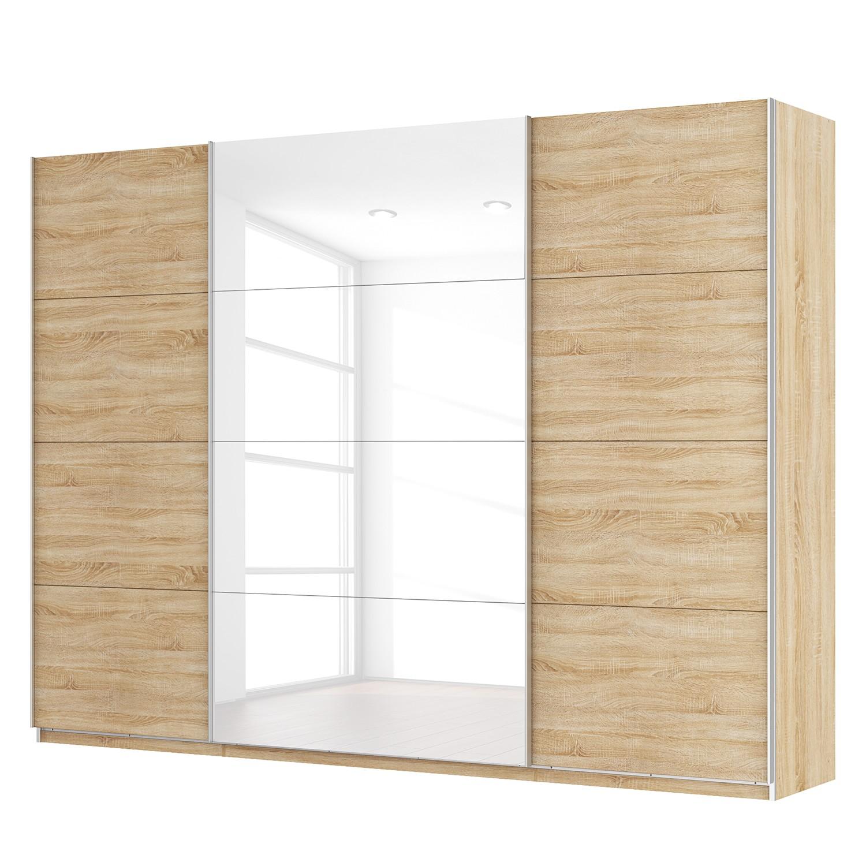 Schwebetürenschrank SKØP - Eiche Sonoma Dekor / Hochglanz Weiß - 315 cm (3-türig) - 236 cm - Comfort