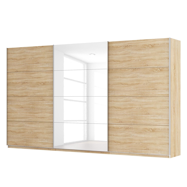 Schwebetürenschrank SKØP - Eiche Sonoma Dekor / Hochglanz Weiß - 405 cm (3-türig) - 236 cm - Premium