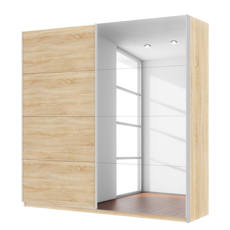 Zweefdeurkast Skøp - Sonoma eikenhouten look/spiegel - 225cm (2-deurs) - 222cm - Comfort, SKØP
